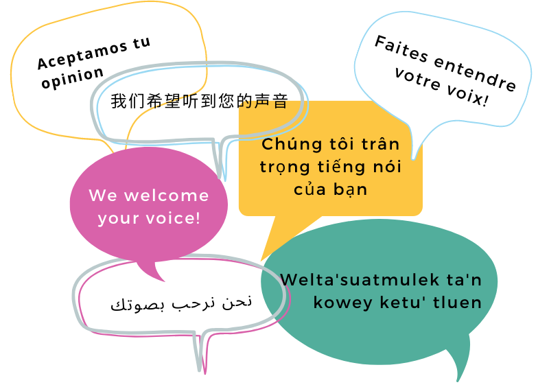 "Graphic with ""We welcome your voice"" translated into Spanish, Farsi, Mandarin, Mi'kmaq, French with caption"